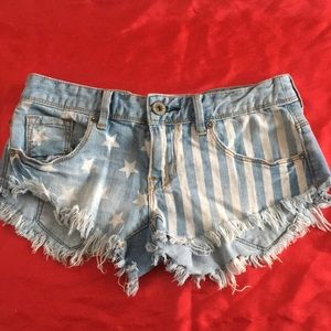 America flag denim shorts